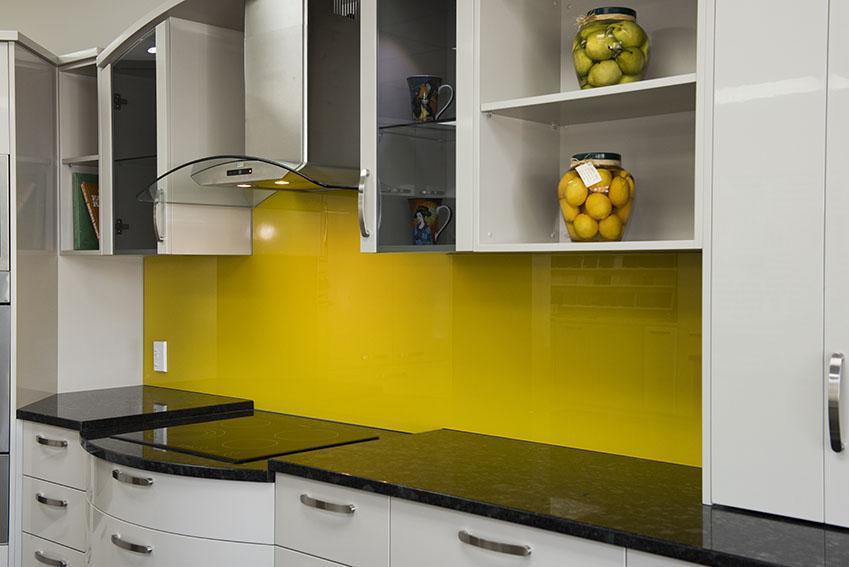 Bright Lemon Yellow Kitchen Paint Design Ideas ~ Lemon yellow splash back kitchen totally glass